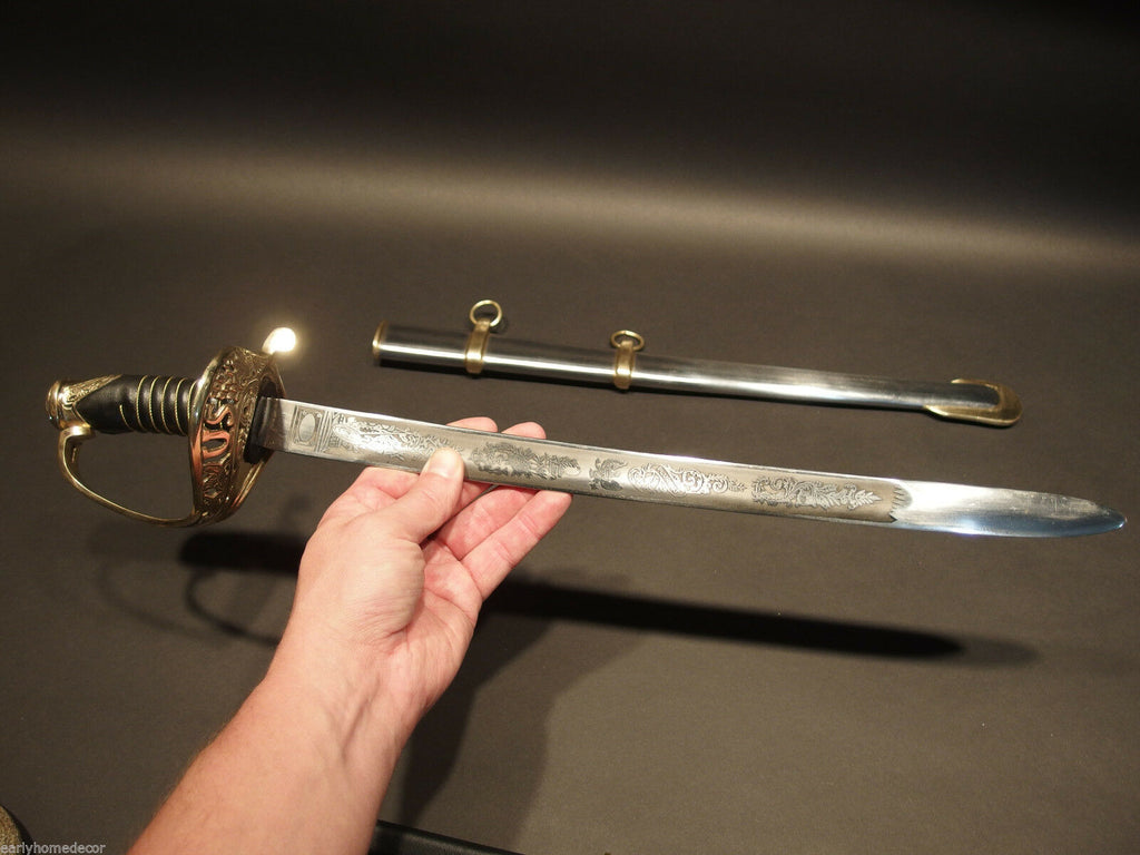 "28"" SMALL Antique Style 1860 Union Staff Officer Carbon Steel Sword US - Early Home Decor"