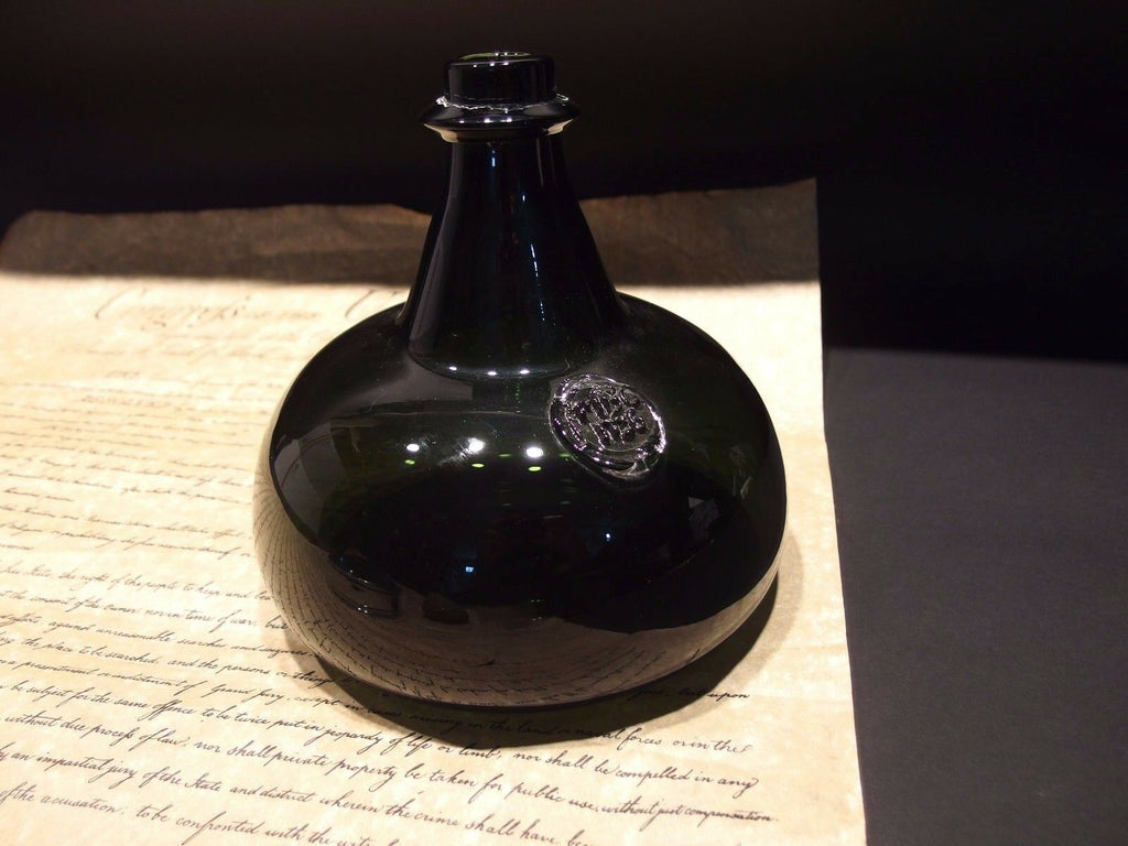 "8"" Antique Vintage Style Colonial Black Glass Blown Onion Bottle (Green) - Early Home Decor"