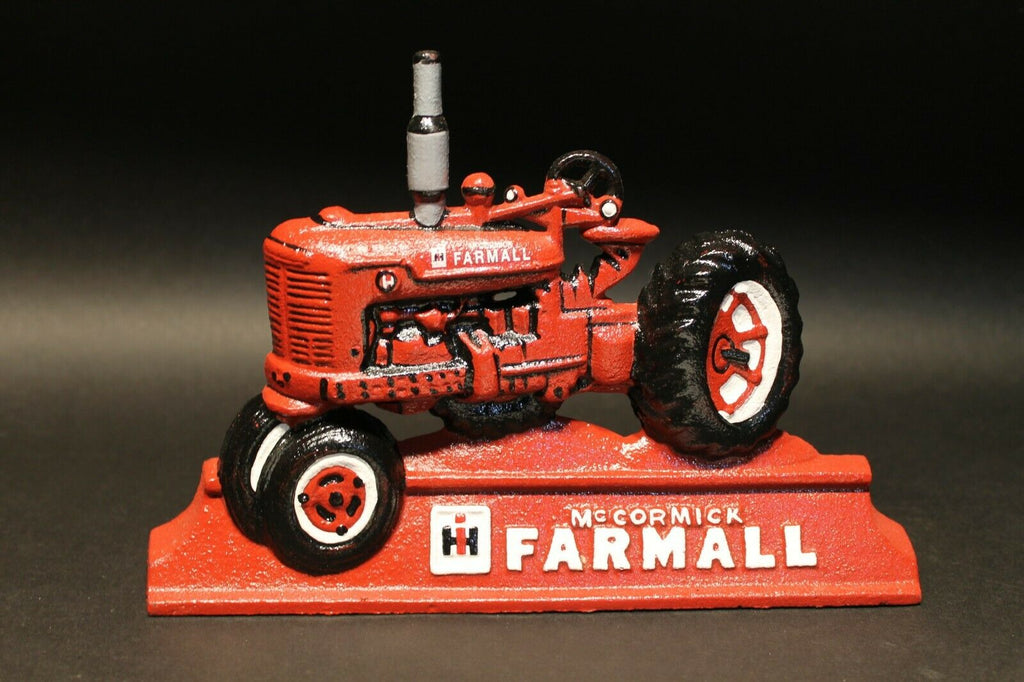Cast Iron McCormick Farmall Tractor Door Stop Antique Vintage Style - Early Home Decor