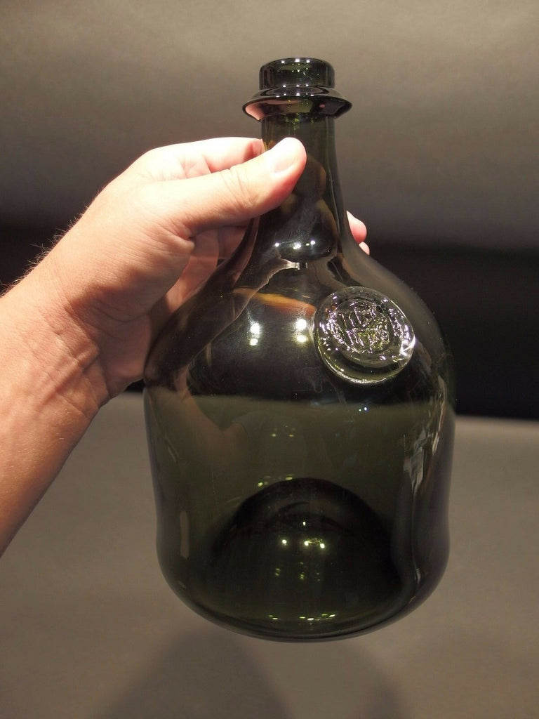 "10"" Antique Vintage Style Black Glass Blown Mallet Onion Wine Bottle Green - Early Home Decor"
