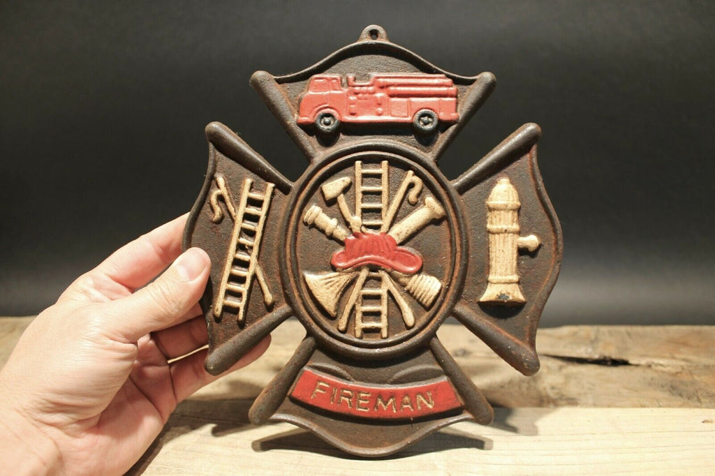 Antique Vintage Style Cast Iron Fire Fighter Plaque Fire Mark Sign - Early Home Decor