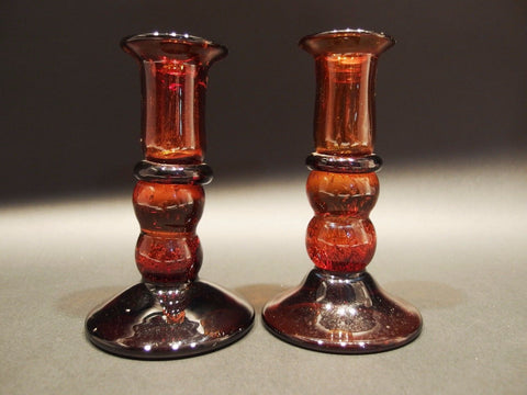 (2) Antique Vintage Style Blown Glass Amber Glass Candlestick Candle Holder - Early Home Decor