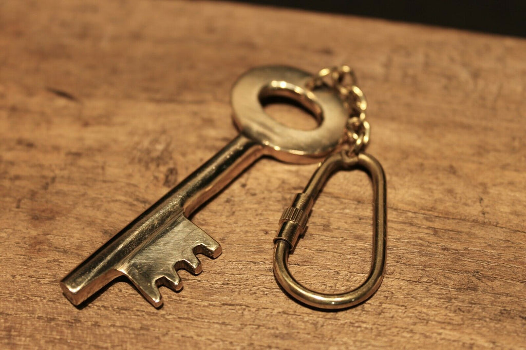 Antique Style Brass Old Key Keychain - Early Home Decor