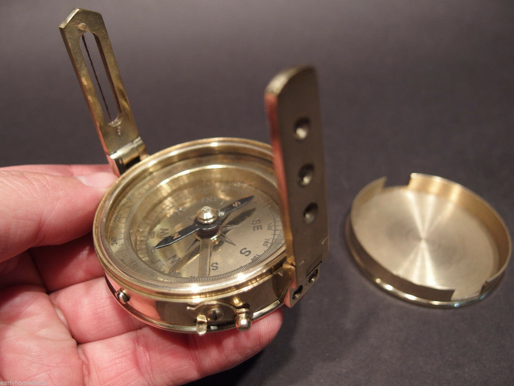 Antique Vintage Style Brass Encampment & Fortification Surveyors Compass - Early Home Decor