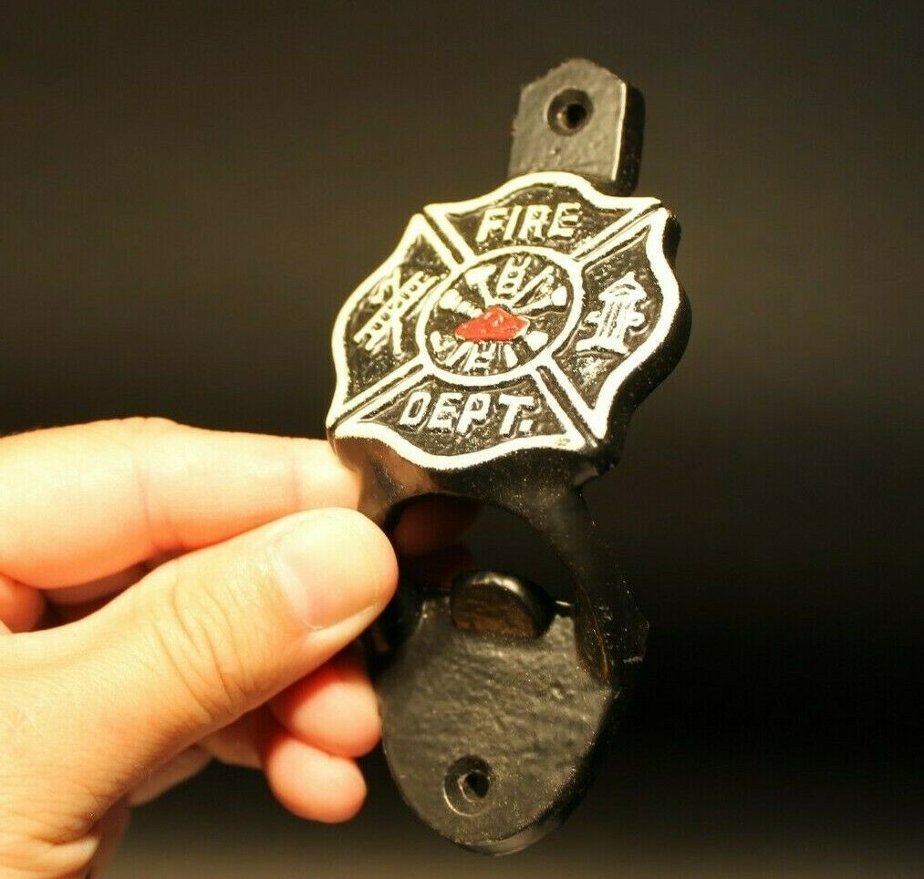 Antique Style Cast Iron Fireman Fire Fighter Wall Mount Bottle Cap Opener - Early Home Decor