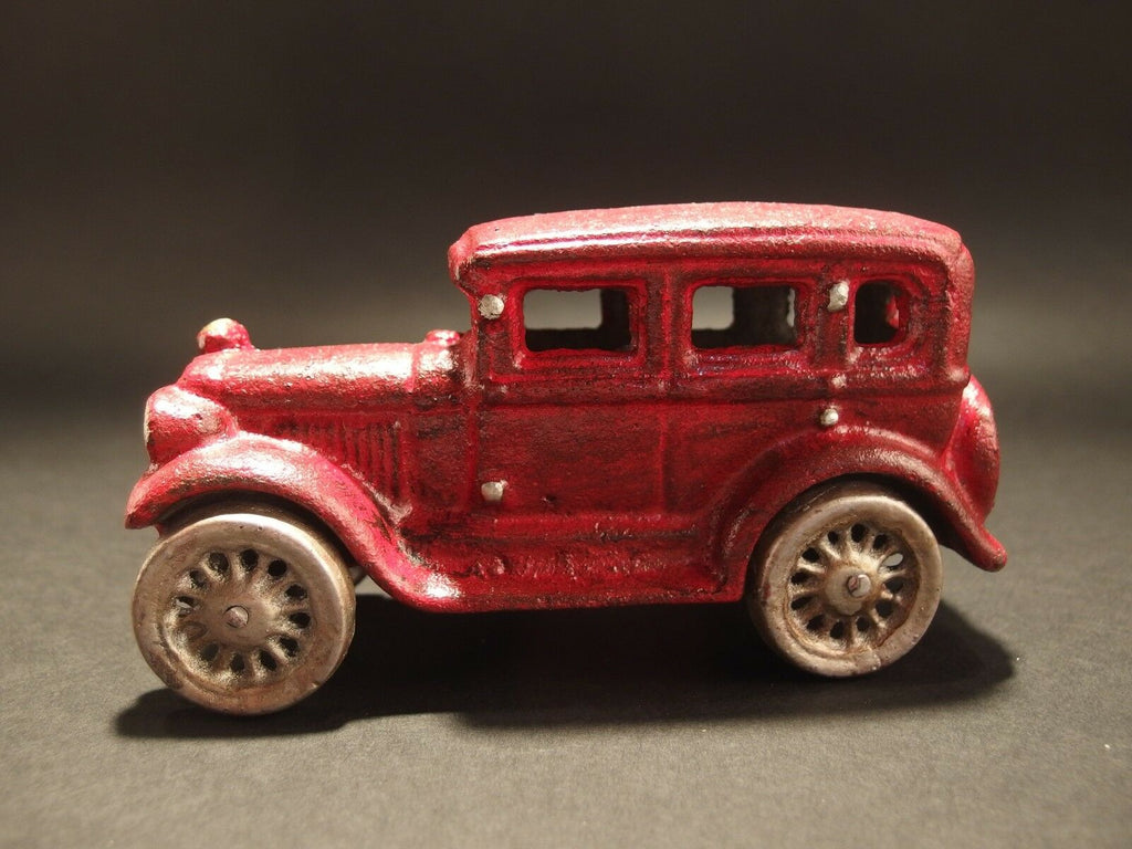 Antique Vintage Style Cast Iron Red Sedan Toy Car - Early Home Decor