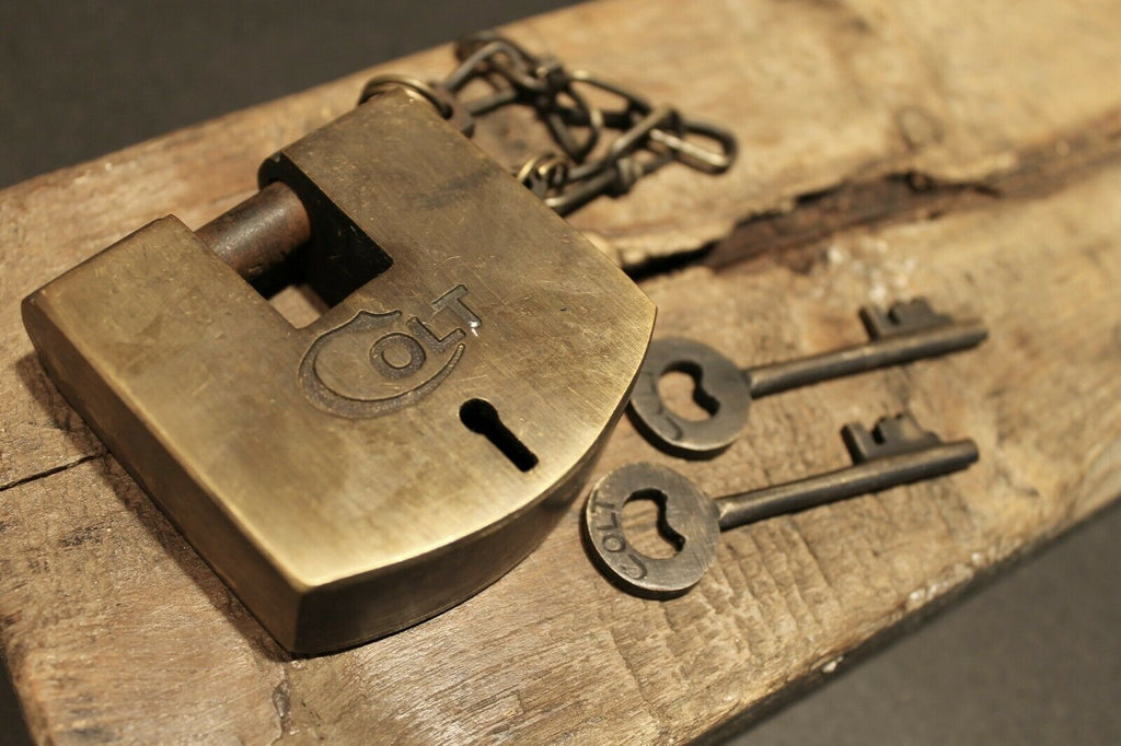 Antique Vintage Style Brass Colt Firearms Ammo Box Padlock Lock & Key - Early Home Decor