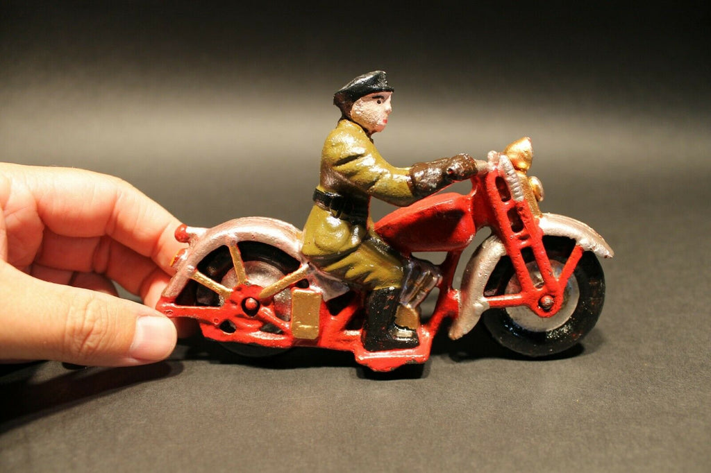 Antique Vintage Style Cast Iron Toy Motorcycle 1 Patrol Rider - Early Home Decor