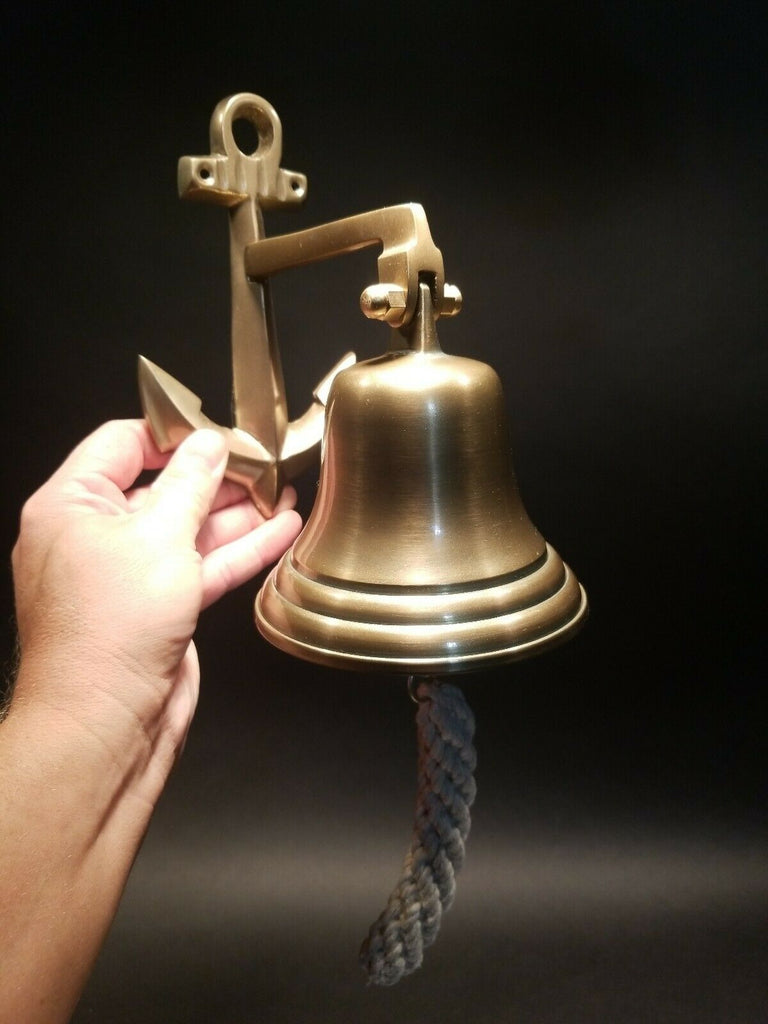 Antique Vintage Style Cast Brass Anchor Wall Mount Bell - Early Home Decor