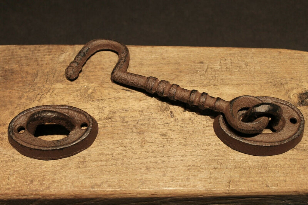 Antique Vintage Style Cast Iron Door Hook Eye Lock Latch Hardware - Early Home Decor