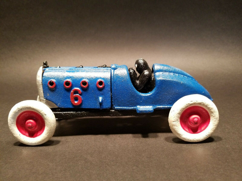 Antique Vintage Style Cast Iron #6  Blue Toy Race Car w Lifting Hood - Early Home Decor