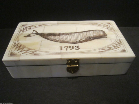 Nice Antique Style Folk Art  Whale Scrimshaw Bone & Wood Trinket Box 1793 - Early Home Decor