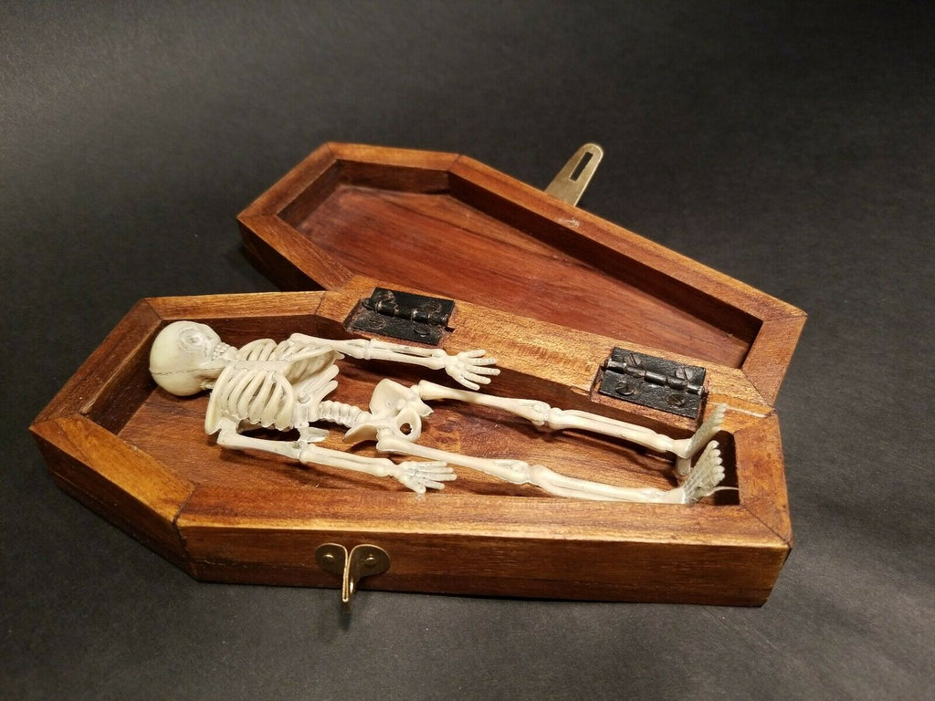 Antique Vintage Style Miniature RIP Coffin w Skeleton - Early Home Decor