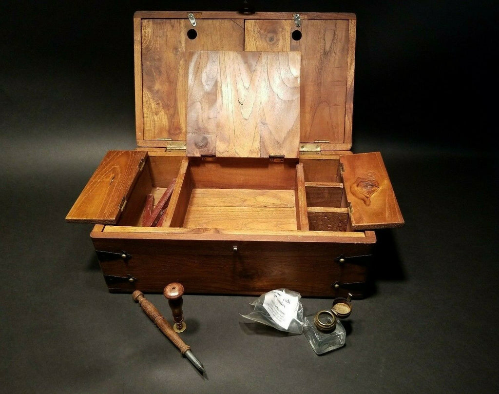 Antique Vintage Style Wood Writing Box Set w Inkwell, Ink, Wax Stamp, & Dip Pen - Early Home Decor