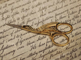Antique Style, Brass Stork Crane Embroidery Sewing Scissors - Early Home Decor