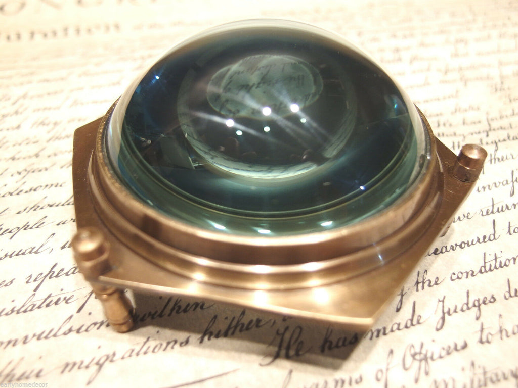 "4"" Vintage Antique Style Solid Brass Heavy Glass Magnifying Desk Lens Magnifier - Early Home Decor"
