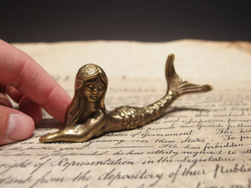 "5"" Vintage Antique Style Brass Nautical Mermaid Paperweight Desk Figure - Early Home Decor"