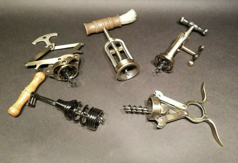 5 Antique Vintage Style Corkscrew Wine Bottle Opener lot - Early Home Decor
