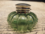 Vintage Antique Style Round Green Glass Thick Glass Inkwell Ink pot Bottle - Early Home Decor
