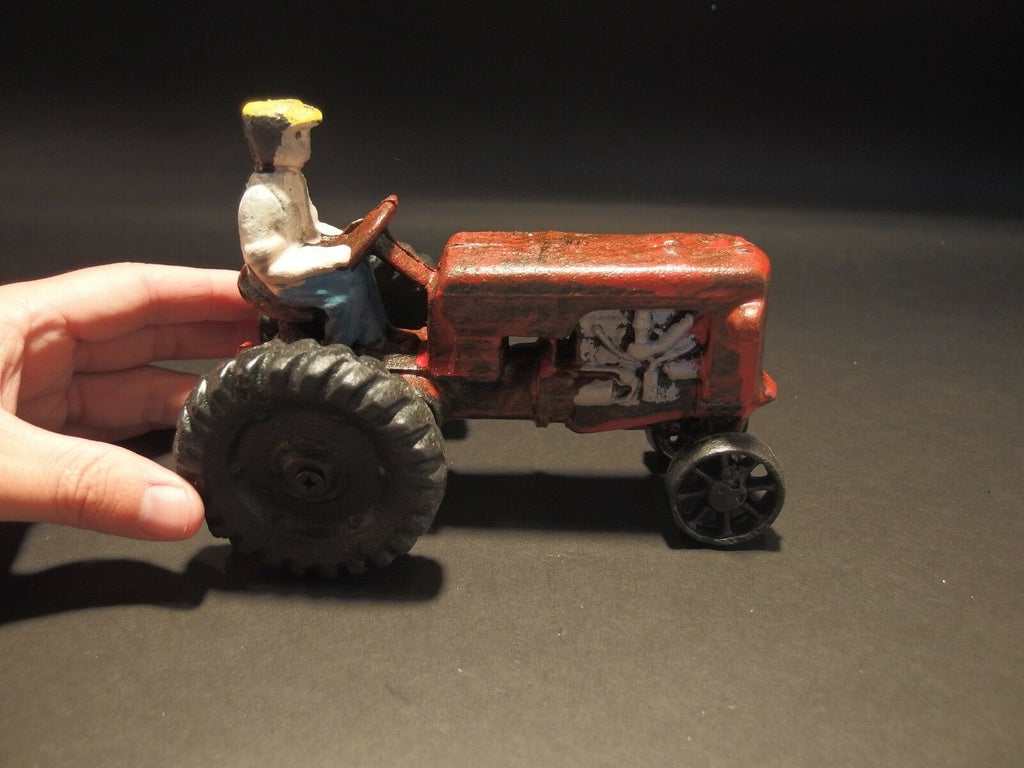 Antique Vintage Style Cast Iron Red Farm Tractor Toy Car - Early Home Decor