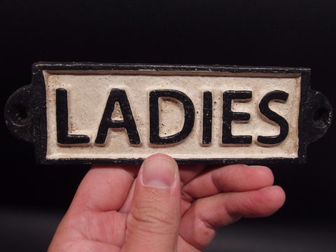 Vintage Antique Style Cast Iron Bathroom Womens Ladies Girls Sign - Early Home Decor