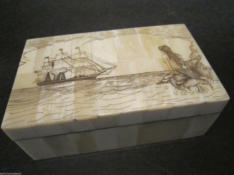 Antique Style Folk Art Mermaid Scrimshaw Etched Bone & Wood Trinket Box - Early Home Decor