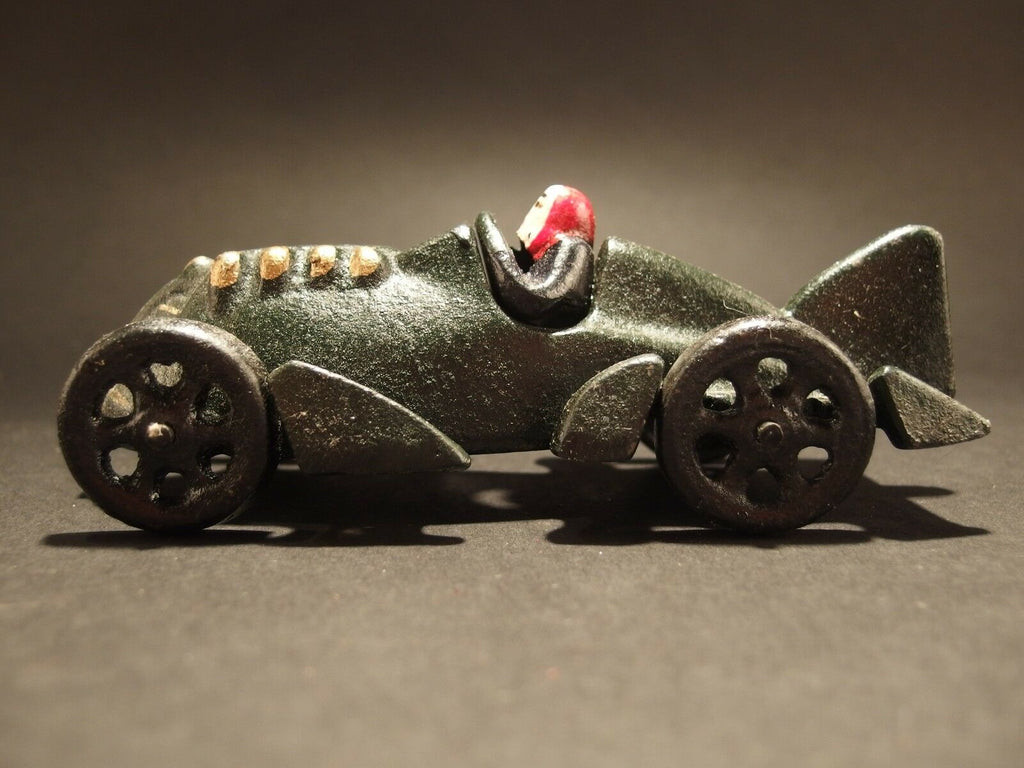 Antique Vintage Style Cast Iron Toy Race Car Dark Green - Early Home Decor
