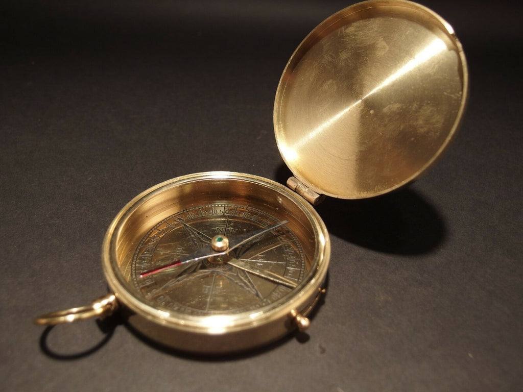 "Vintage Antique Style 3"" Polished Brass Heavy Maritime Navigational Compass - Early Home Decor"