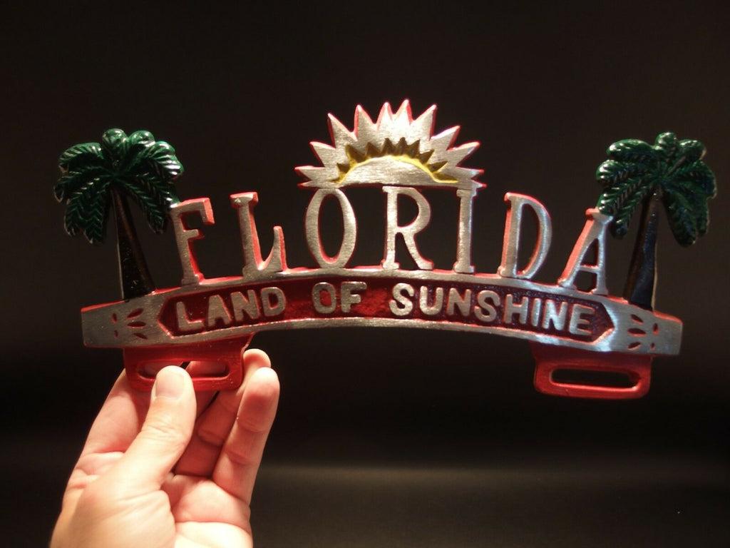 "Vintage Antique Style Florida ""Land of Sunshine"" License Plate Frame - Early Home Decor"