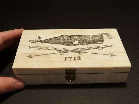 Antique Style Folk Whale Harpoon Scrimshaw Bone & Wood Trinket Box - Early Home Decor