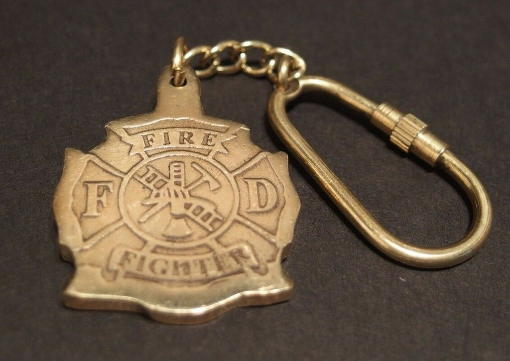 Antique Vintage Style Brass Fireman Fire Fighter Key Chain - Early Home Decor