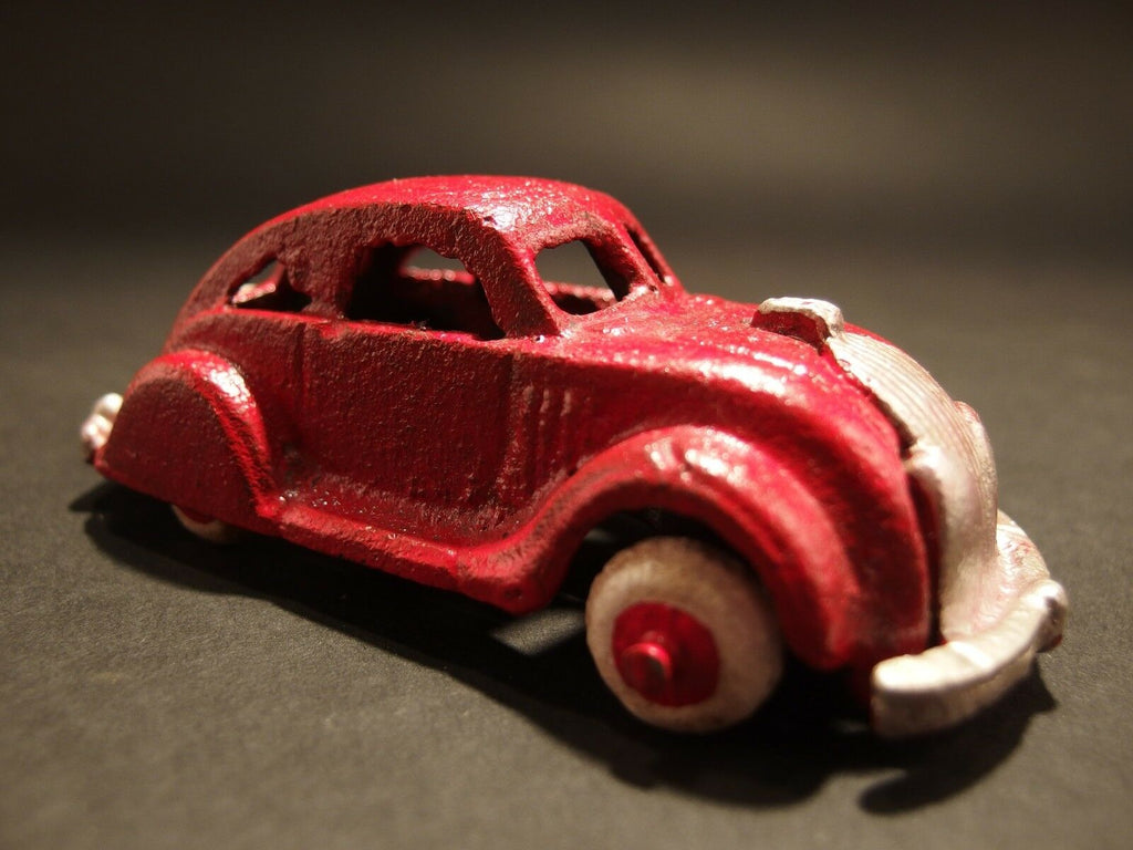 Antique Vintage Style Cast Iron Red Toy Car - Early Home Decor