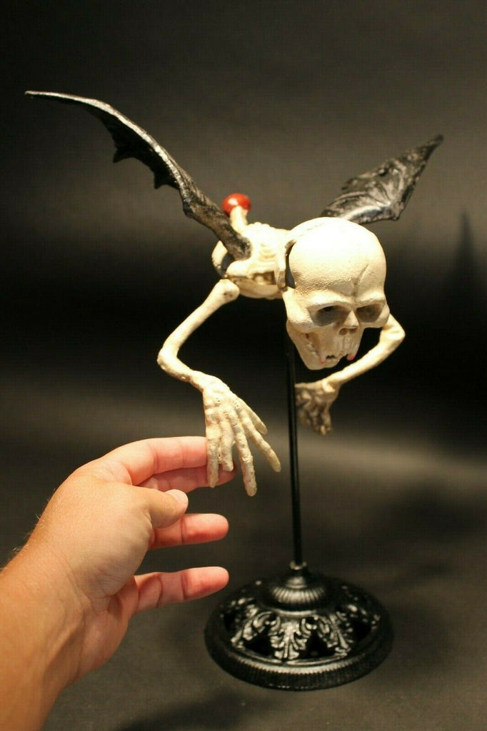 Cast Iron Flying Skeleton Halloween Decoration Statue Vintage Antique Style - Early Home Decor