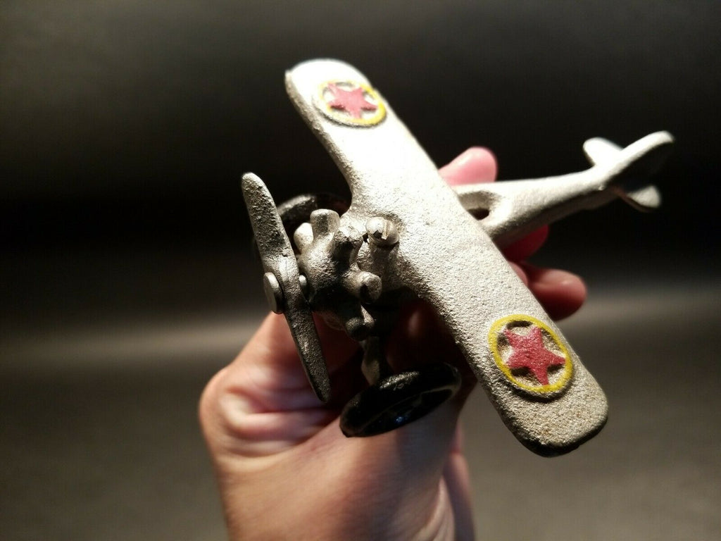 Antique Vintage Style Cast Iron Airplane Toy - Early Home Decor