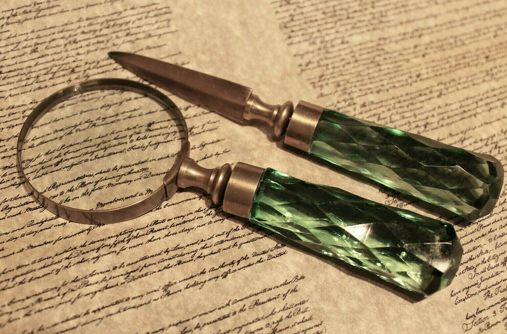Antique Vintage Style Magnifying Glass Letter Opener Set w Green Glass Handles - Early Home Decor