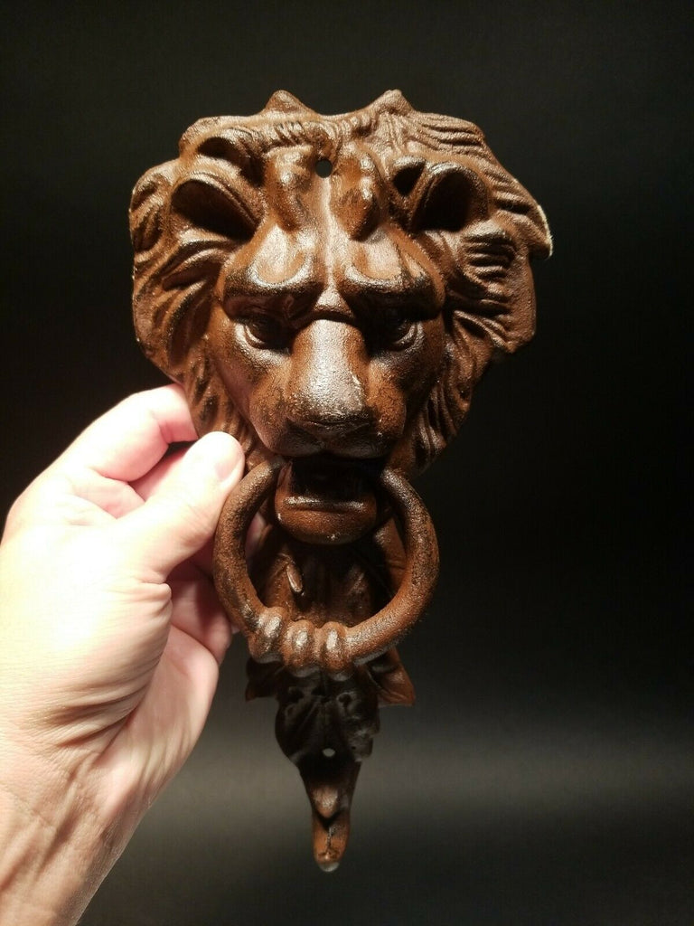 Antique Vintage Style Cast Iron Lion Door Knocker w Hook - Early Home Decor