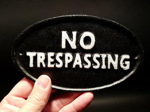 Vintage Antique Style Cast Iron NO TRESPASSING Sign w Raised Letters - Early Home Decor