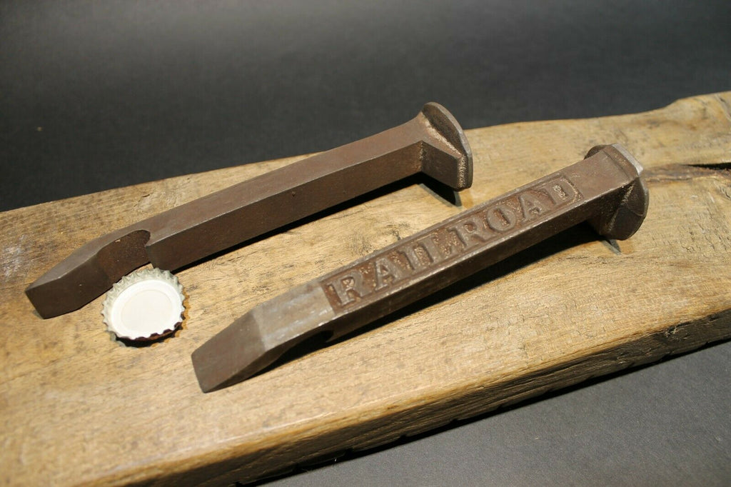 Antique Vintage Style Iron Railroad Spike Soda Beer Bottle Cap Opener - Early Home Decor