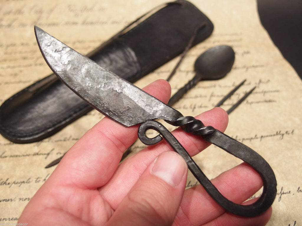 Antique Style Flint Striker Style Custom Forged Primitive Knife Utensil Set - Early Home Decor