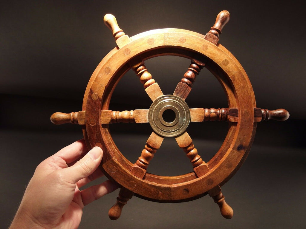"13"" Vintage Antique Style Wood Nautical Ships Helm Steering Wheel - Early Home Decor"