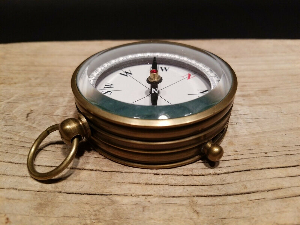 Vintage Antique Style Beveled Glass Navigational Compass - Early Home Decor