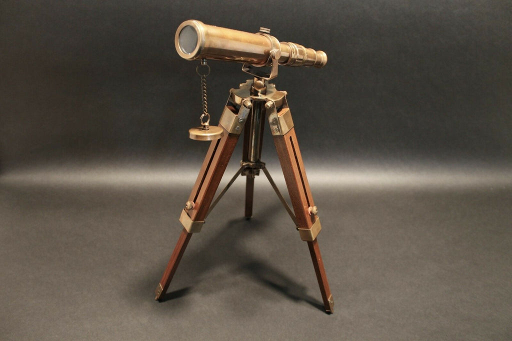 Vintage Antique Style Solid Brass Telescope & Wood Tripod - Early Home Decor