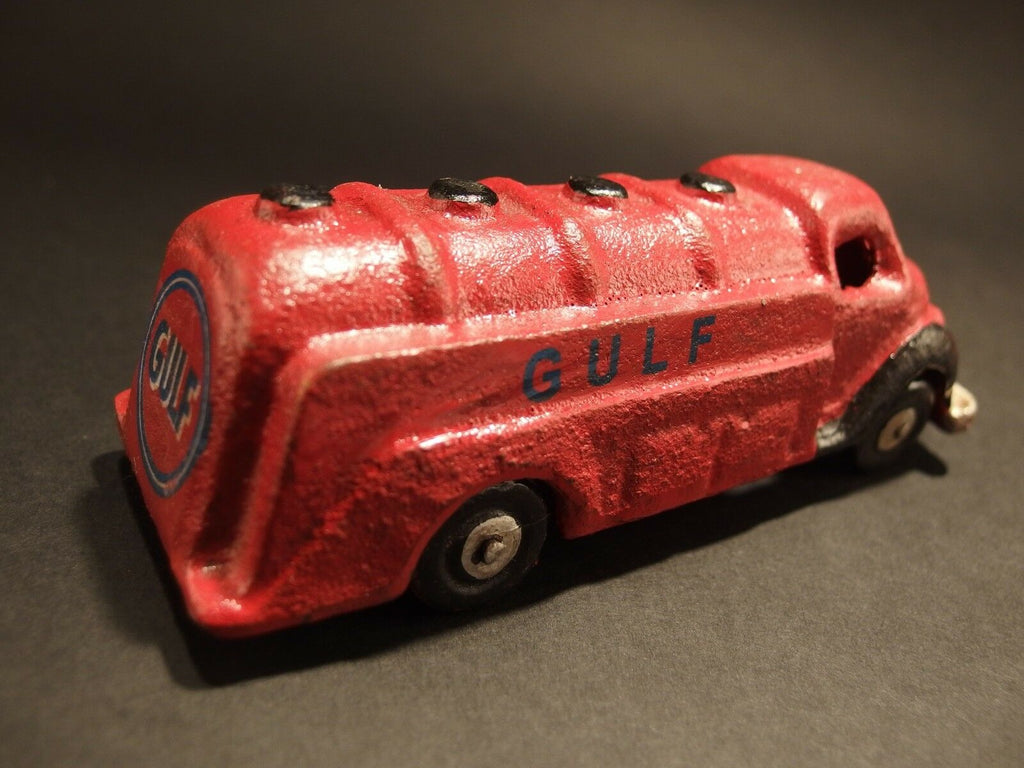 Antique Vintage Style Cast Iron Red Gulf Toy Truck Car - Early Home Decor