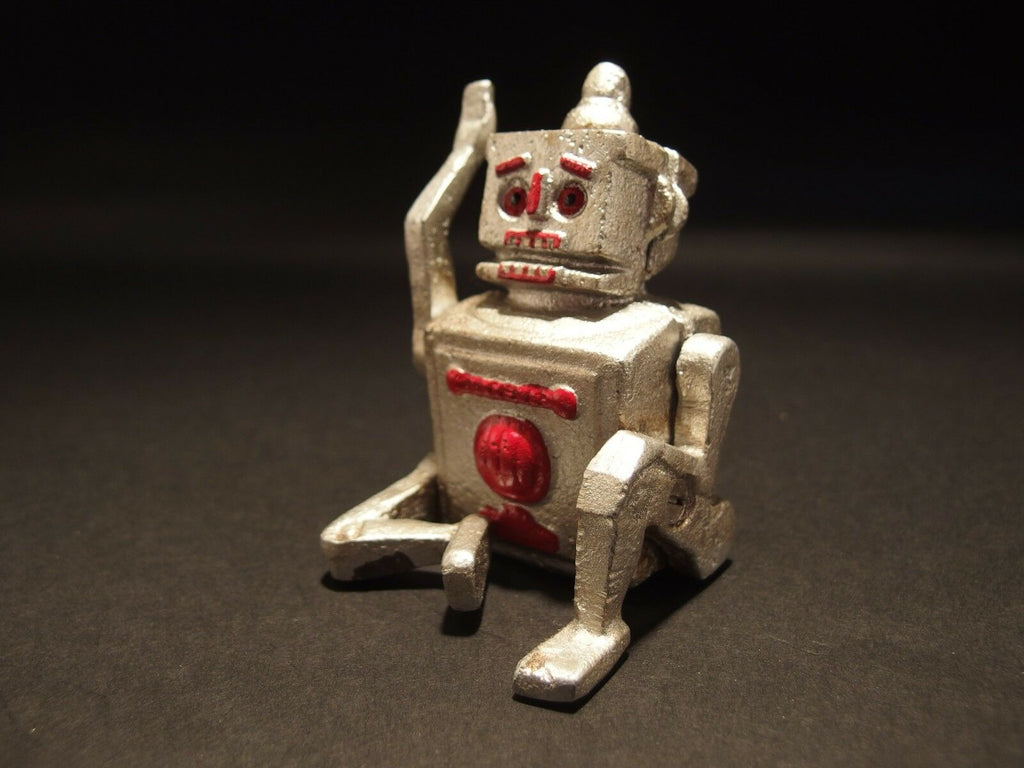 Antique Vintage Style Mini Cast Iron Silver Robert the Robot Toy Paperweight - Early Home Decor