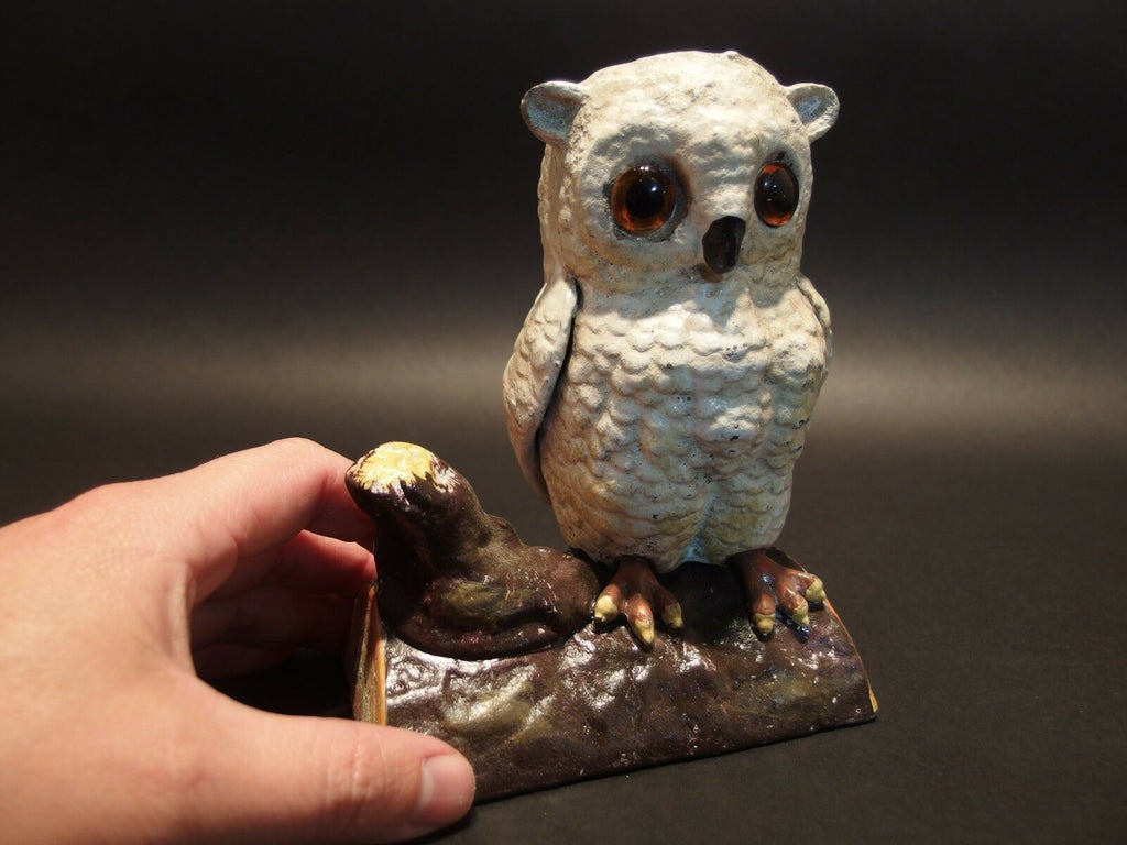 Vintage Antique Style Cast Iron Owl on Log Coin Bank Door Stop - Early Home Decor