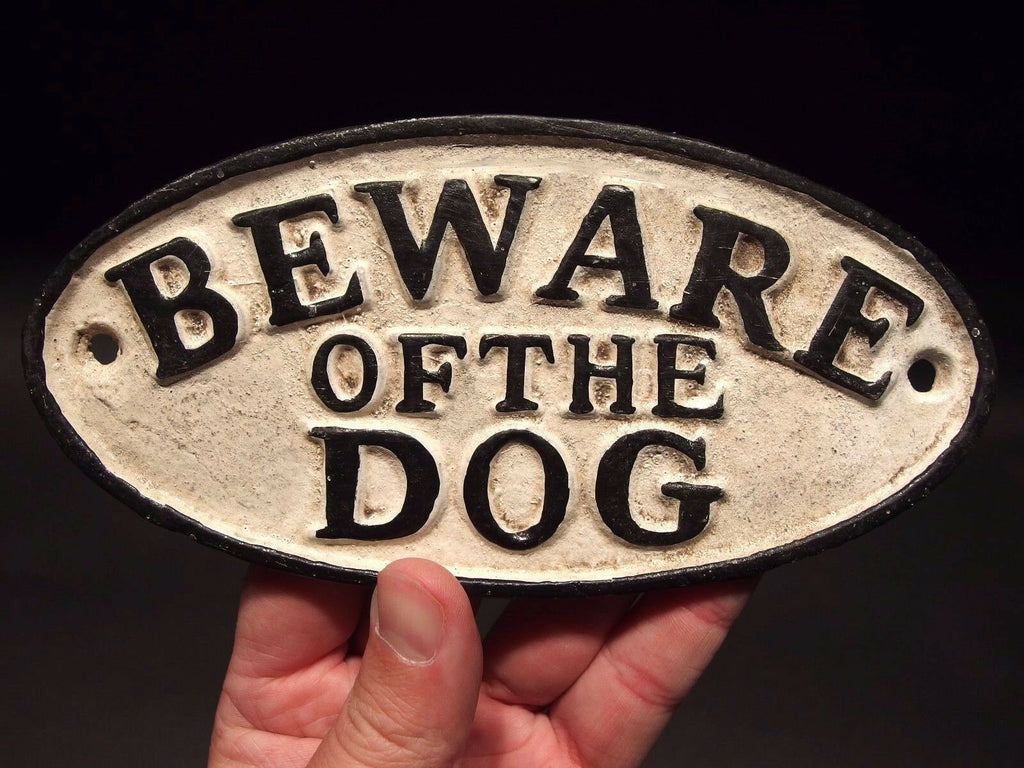 Vintage Antique Style Cast Iron Beware Of The Dog Warning Sign w Raised Letters - Early Home Decor