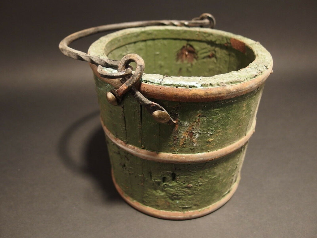 Primitive Antique Style Colonial Wood Berry Bucket Iron Handle old Green Paint - Early Home Decor