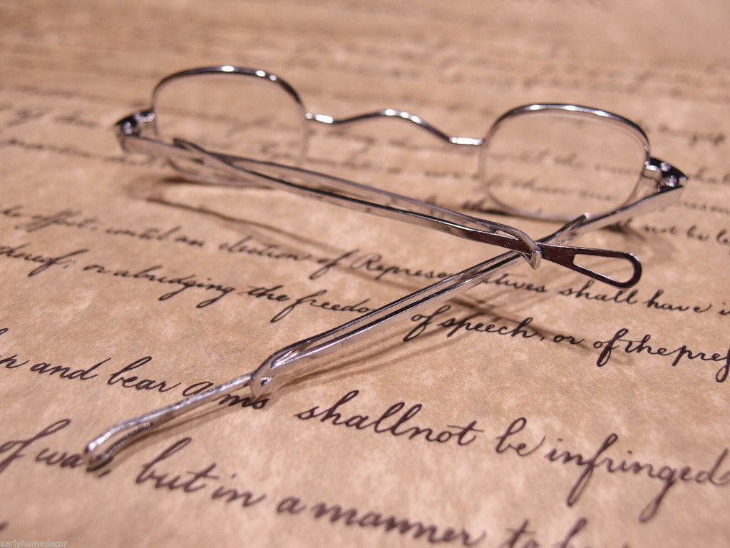 Antique Style, Small Reading Eyeglasses +150 Sliding Bow Silver Brass Rev War - Early Home Decor