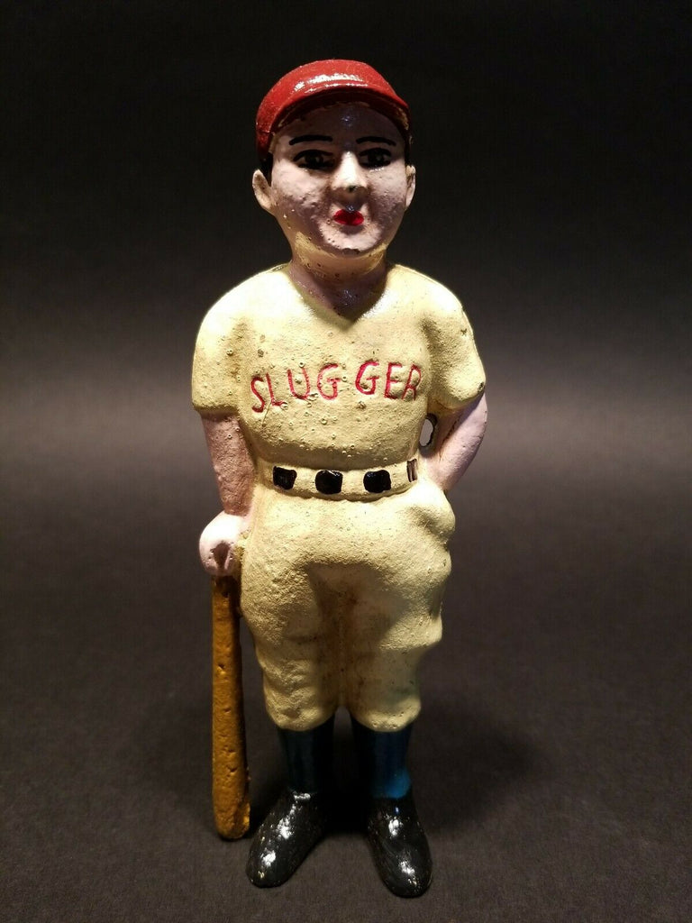 Antique Vintage Style Cast Iron Slugger Coin Bank Baseball Player - Early Home Decor