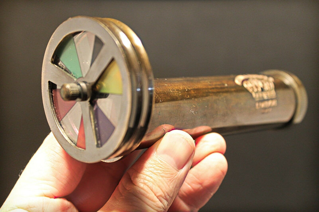 "Antique Vintage Style Solid Brass Kaleidoscope ""London 1917"" Toy - Early Home Decor"